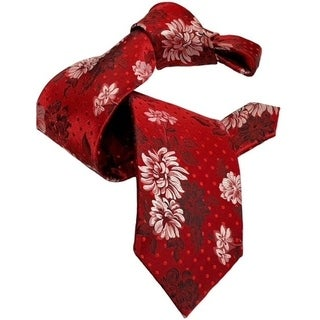 DMITRY 7-Fold Red Floral Italian Silk Tie