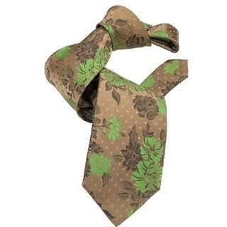 DMITRY 7-Fold Light Brown Floral Tie
