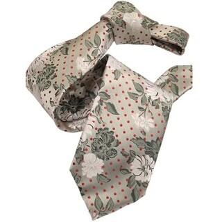 DMITRY 7-Fold Silver Floral Italian Silk Tie