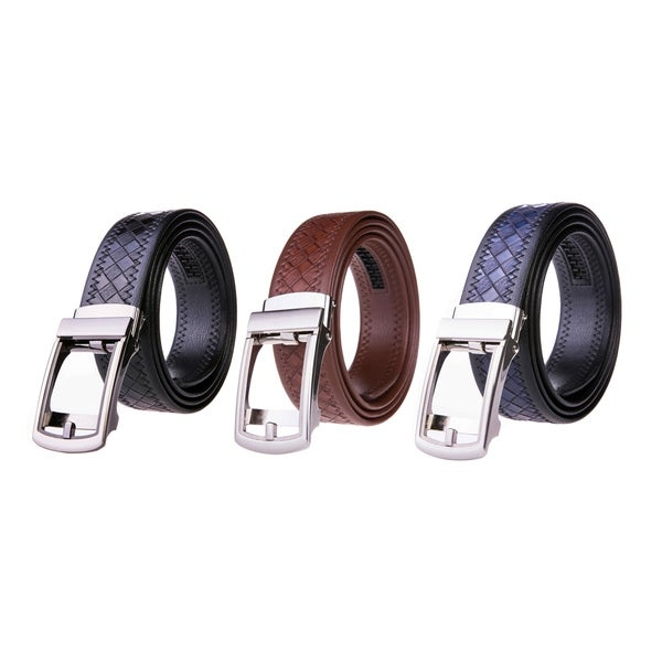 Men's Leather Automatic Buckle Ratchet Dress Belt