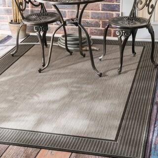 Copper Grove Grey Portumna Two-Tone Border Indoor/ Outdoor Area Rug - 3' 9 x 5' 5
