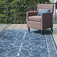 "Gracewood Hollow Blue Brian Alexa Outdoor/Indoor Area Rug - 8'6"" x 13'"