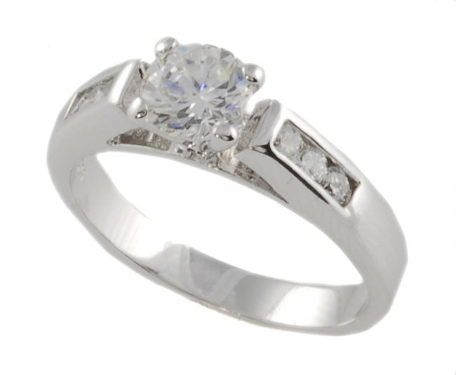 Journee Collection Sterling Silver Round-cut CZ Bridal and Engagement Ring