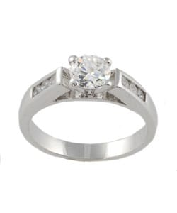 Journee Collection Sterling Silver Round-cut CZ Bridal and Engagement Ring - Thumbnail 1