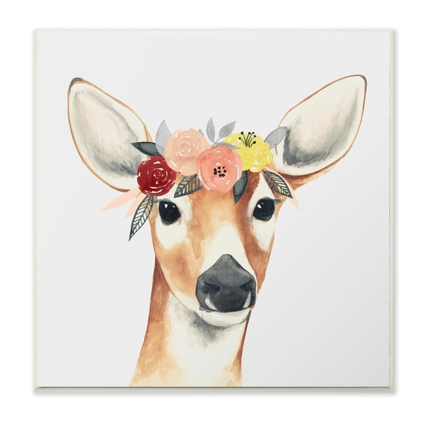 The Stupell Home Decor Collection Doe Eyed Deer in Flower Crown Wall Plaque Art, 12 x 0.5 x 12, Made in USA - 12 x 12