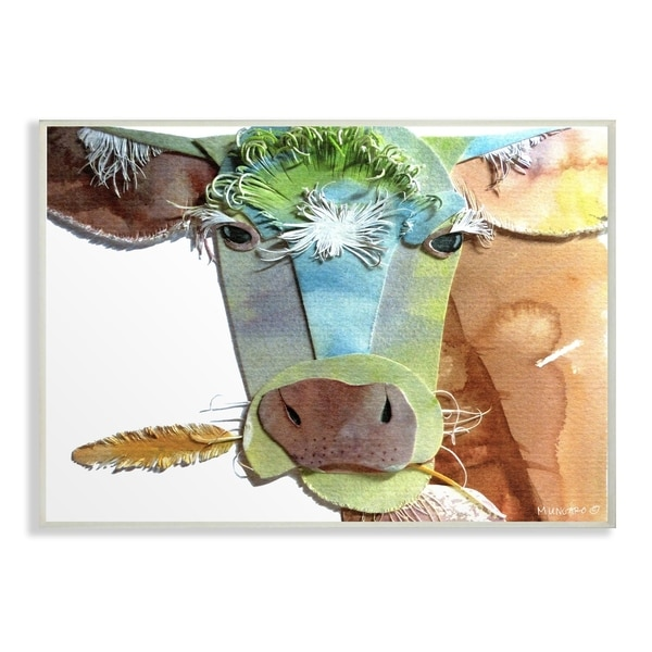The Stupell Home Decor Collection Watercolor Cutout Collage Cow Oversized Wall Plaque Art 125 X