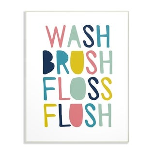 The Kids Room by Stupell Wash Brush Floss Flush Typography Wall Plaque Art, 10 x 0.5 x 15, Made in USA