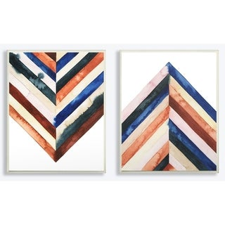 The Stupell Home Decor Collection Watercolor Abstract Layered Shapes 2pc Wall Plaque Art Set, 10 x 0.5 x 15, Made in USA