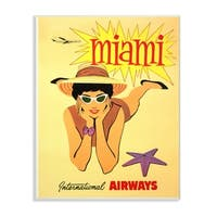 The Stupell Home Decor Collection Vintage Miami Beach Poster Wall Plaque Art, 10 x 0.5 x 15,  Made in USA