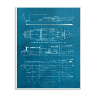 The Stupell Home Decor Collection Informational Boat Blueprint Oversized Wall Plaque Art, 12.5 x 0.5 x 18.5, Made in USA