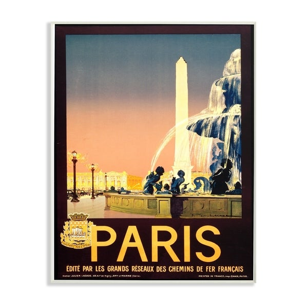 The Stupell Home Decor Collection Vintage Paris Fountain Poster Wall Plaque Art 10 X 0 5