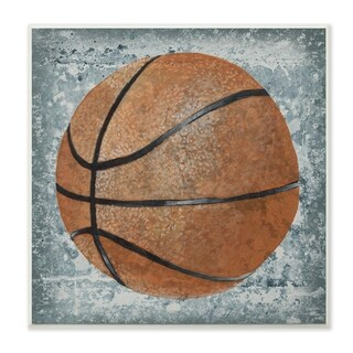 The Kids Room by Stupell Grunge Sports Equipment Basketball Wall Plaque Art, 12 x 0.5 x 12, Made in USA - 12 x 12