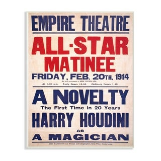 The Stupell Home Decor Collection Vintage Empire Theatre Harry Houdini Poster Wall Plaque Art, 10 x 0.5 x 15, Made in USA