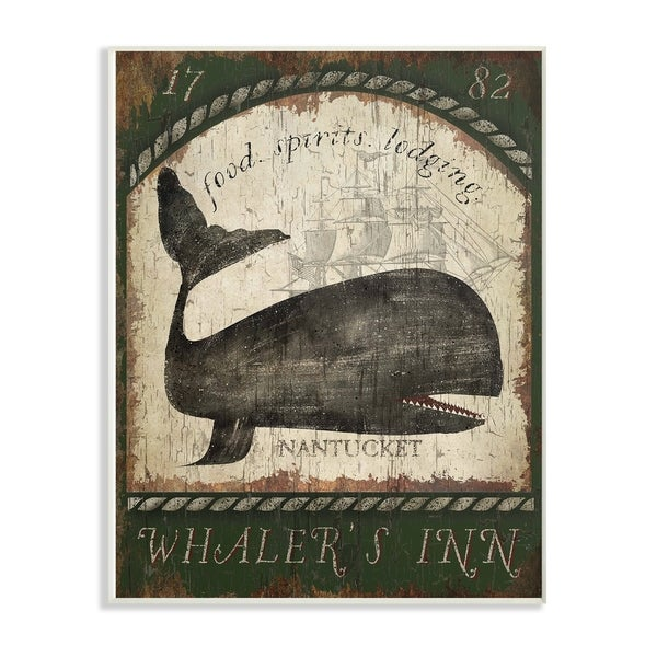 The Stupell Home Decor Collection Vintage Nantucket Whaler's Inn Sign Wall Plaque Art, 10 x 0.5 x 15, Made in USA