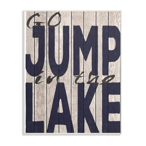The Stupell Home Decor Collection Go Jump in The Lake Country Typography Navy Wall Plaque Art, 10 x 0.5 x 15, Made in USA