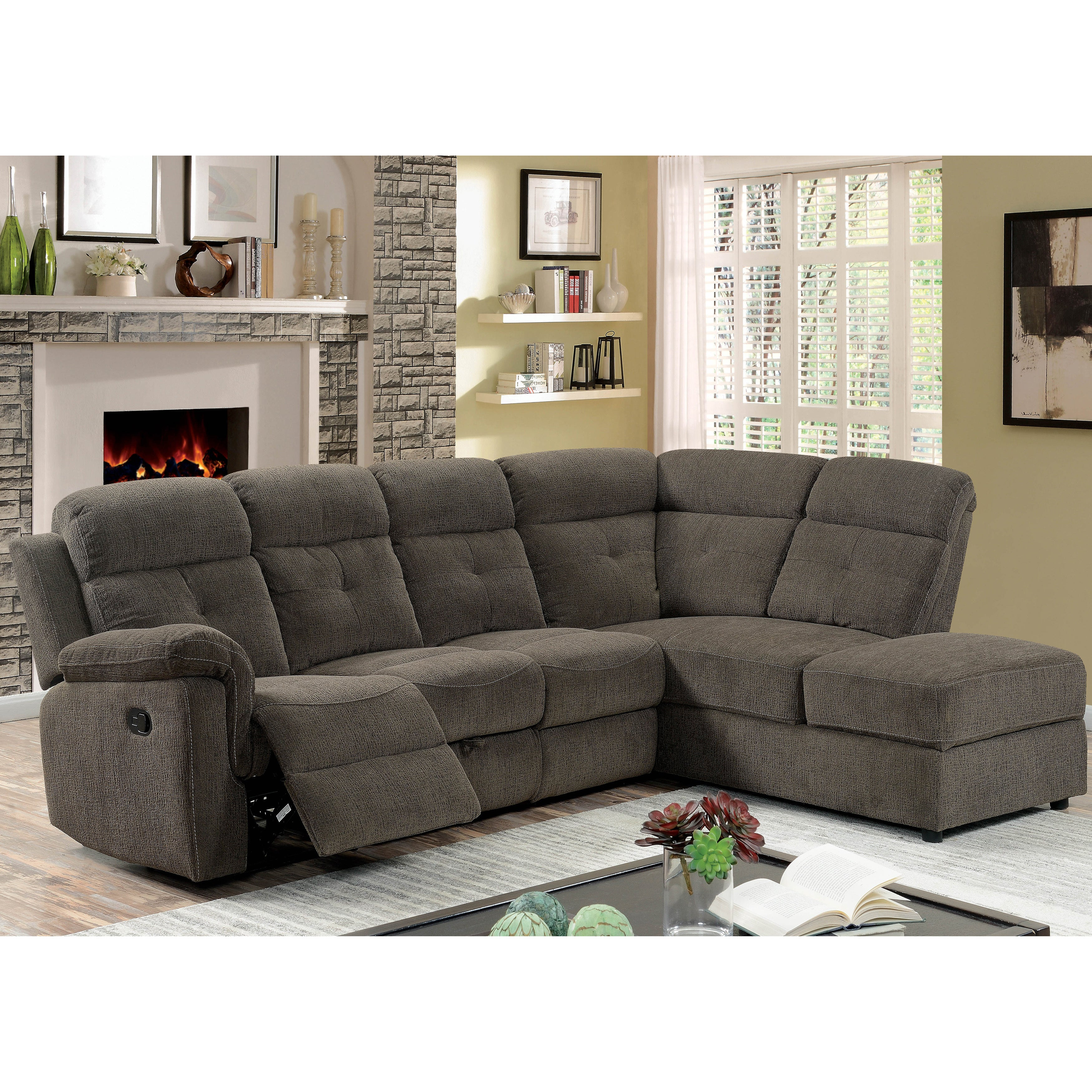 Furniture of America Russell Grey Storage Linen Reclining Sectional