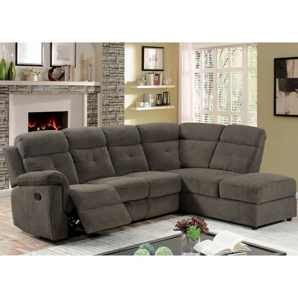 Furniture of America Nidg Transitional Grey Fabric Reclining Sectional