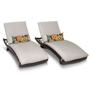 Tidepool Outdoor Patio Wicker Chaise Lounges (Set of 2)