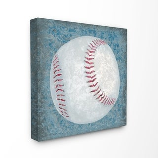 The Kids Room by Stupell Grunge Sports Equipment Baseball Stretched Canvas Wall Art, 17 x 1.5 x 17, Made in USA - Multi-color
