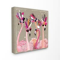 The Stupell Home Decor Collection Fancy Pants Flamingos Stretched Canvas Wall Art, 17 x 1.5 x 17,  Made in USA - Multi-color