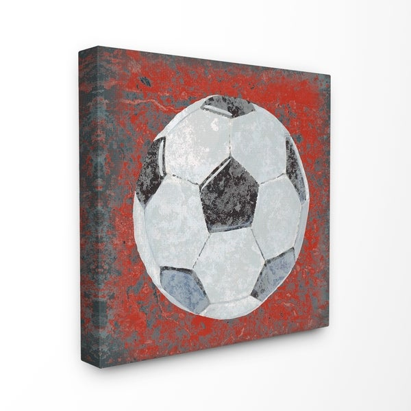 2c54d1423c The Kids Room by Stupell Grunge Sports Equipment Soccer Stretched Canvas  Wall Art