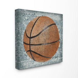 The Kids Room by Stupell Grunge Sports Equipment Basketball Stretched Canvas Wall Art, 17 x 1.5 x 17, Made in USA - Multi-color