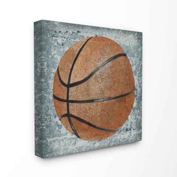f87a7a79be The Kids Room by Stupell Grunge Sports Equipment Basketball Stretched  Canvas Wall Art