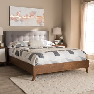 Mid-century Fabric Platform Bed by Baxton Studio