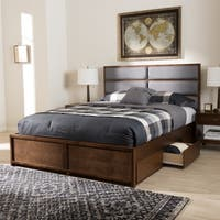 Clay Alder Home Kanmon Contemporary Grey Fabric and Walnut Wood Storage Bed