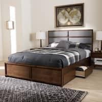 Strick & Bolton Mori Contemporary Grey Fabric and Walnut Wood Storage Bed