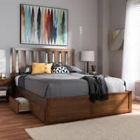 Contemporary Walnut Wood Storage Bed by Baxton Studio