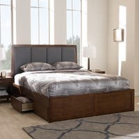 Strick & Bolton Mori Contemporary Grey Fabric and Walnut Wood Storage Bed