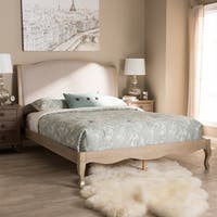 Maison Rouge Wyon French Style Beige Fabric and Oak Wood Platform Bed