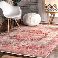 nuLoom Red Traditional Fancy Medallion Border Area Rug - 8' x 10'