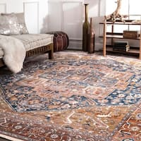"nuLOOM Rust Traditional Fancy Medallion Border Area Rug - 7'10"" square"