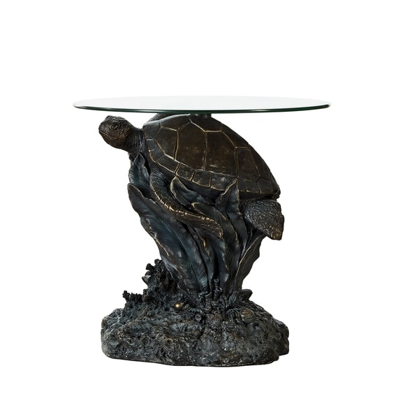 Shop Powell Sheldon Tortoise Glass Top Side Table Free Shipping