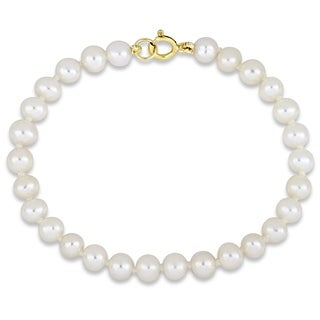 Miadora 10k Yellow Gold Children's Cultured Freshwater Pearl Bracelet