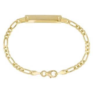 Miadora Signature Collection 18k Yellow Gold Children's Engraveable Figaro Link ID Bracelet