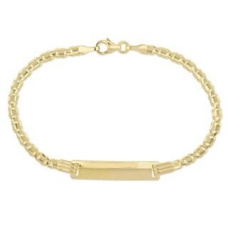Miadora 18k Yellow Gold Children's Engraveable Fancy Link ID Bracelet
