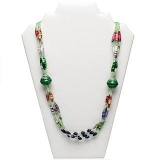 Handmade Paper Bead Olok Necklace Green Purple (Uganda)