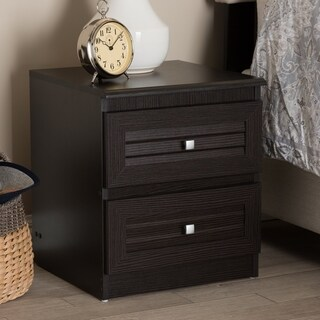 Contemporary Wenge Brown 2-Drawer Nightstand by Baxton Studio