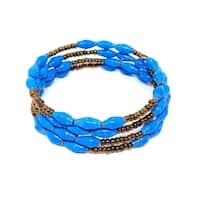 Handmade Paper Bead Katoga Tino Bracelet Turquoise Gold (Uganda)