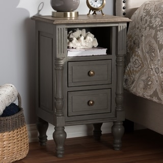 Country Cottage Brown 2-Drawer Nightstand by Baxton Studio