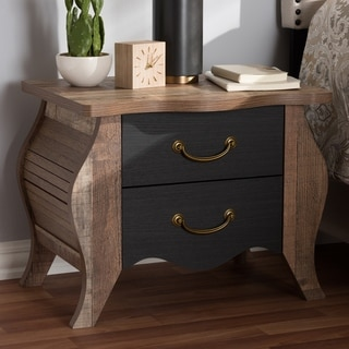 The Curated Nomad Taliesin Country Cottage Black and Oak 2-drawer Nightstand