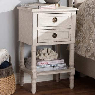 Country Cottage Whitewashed 2-Drawer Nightstand by Baxton Studio