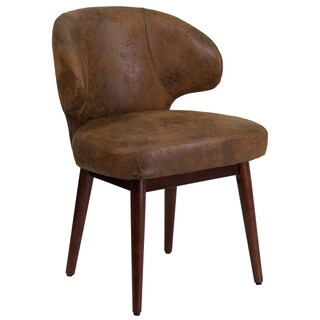 Brown Microfiber Curved Back Executive Guest Chair /Walnut Beechwood Frame