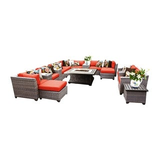 Marina OH0412 17-Piece Outdoor Patio Wicker Lounge Set with Fire Pit