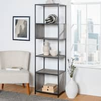 "70"" Metal and Wood Bookshelf Display Tower - 20 x 16 x 70h"