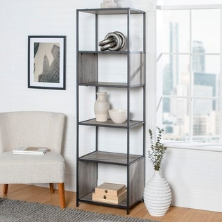 Industrial Metal and Wood Bookshelf Display Tower 70 Inch