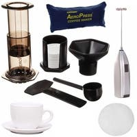AeroPress Coffee Maker with Bag Kit and Micro FIlers, Cup and Milk Frother